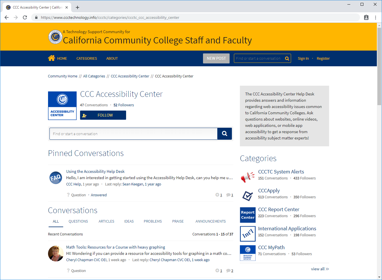 Screenshot of the Accessibility Center helpdesk