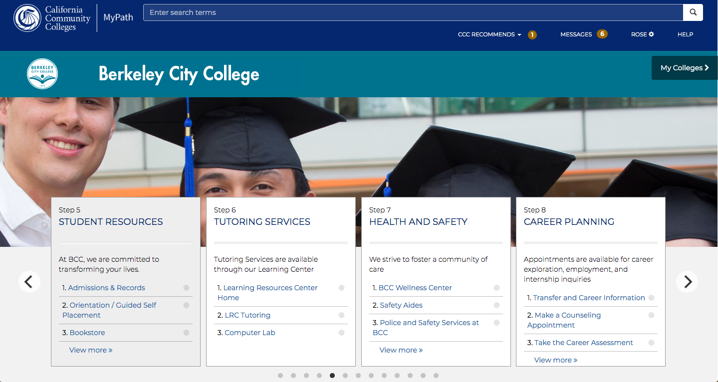 Screenshot of the Berkeley City College Mypath homepage