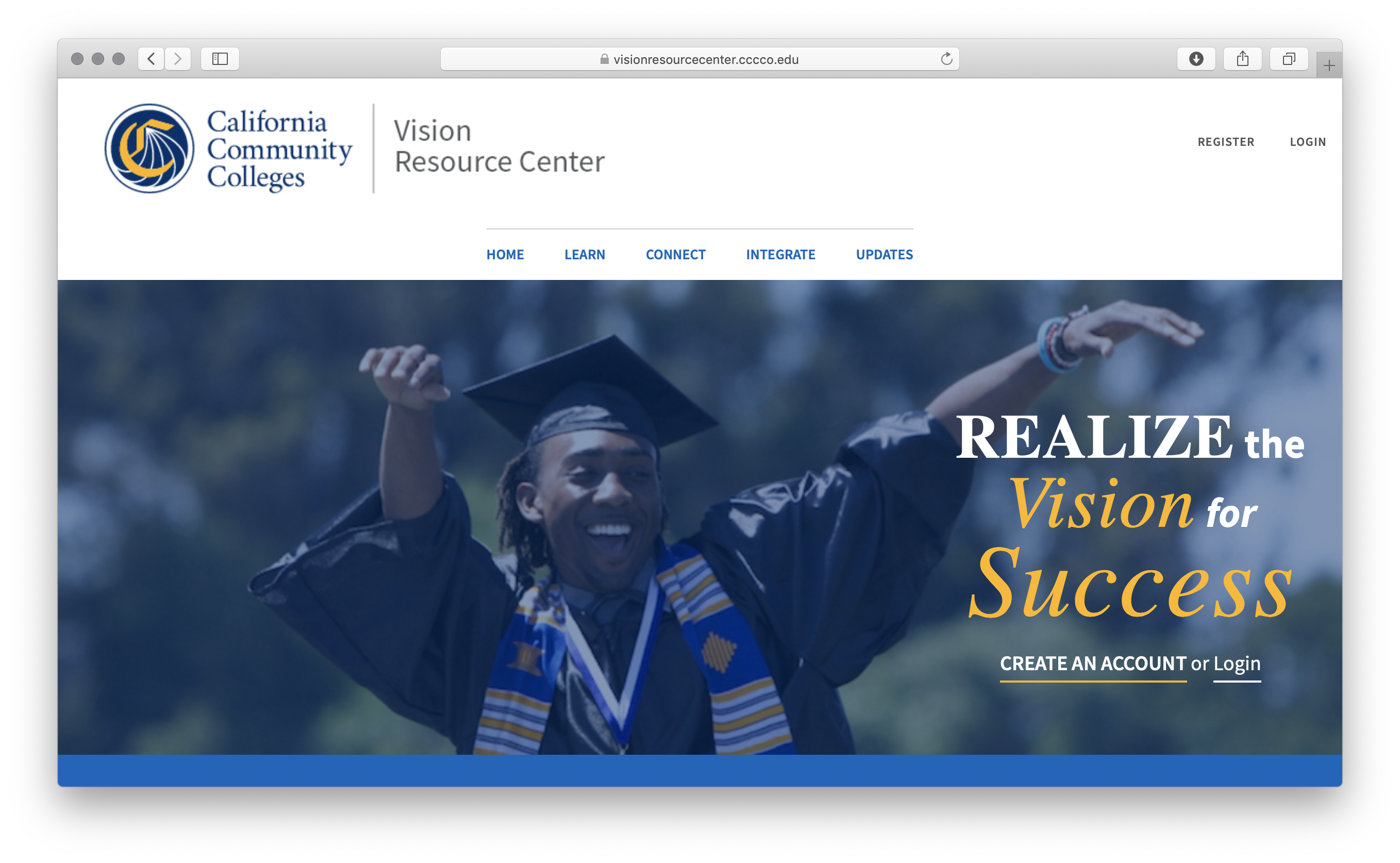 Screenshot of the Vision Resource Center website